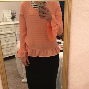 Wishful Park Tops - Orange ruffled top